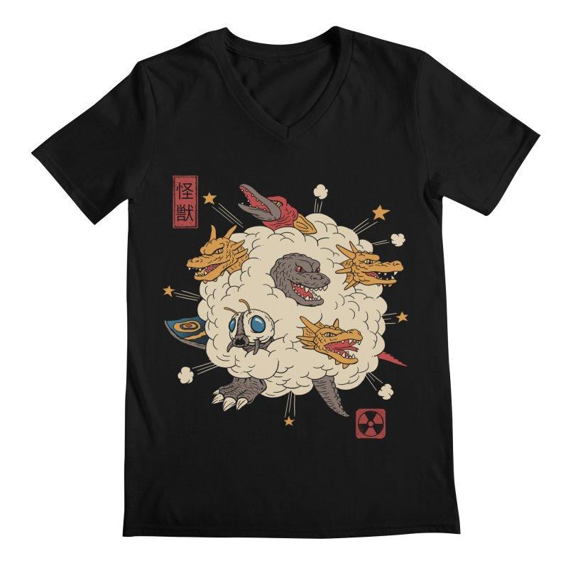 Kaiju Rumble Men's Regular V-Neck by vincenttrinidad's Artist Shop