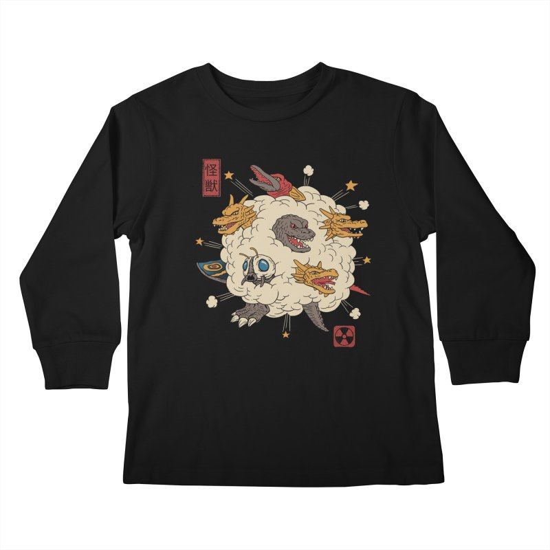 Kaiju Rumble Kids Longsleeve T-Shirt by vincenttrinidad's Artist Shop