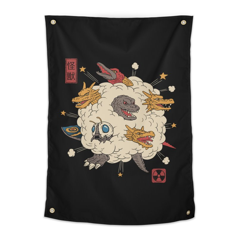 Kaiju Rumble Home Tapestry by vincenttrinidad's Artist Shop