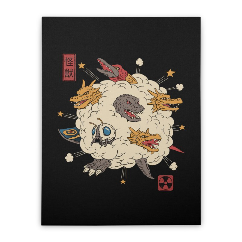 Kaiju Rumble Home Stretched Canvas by vincenttrinidad's Artist Shop