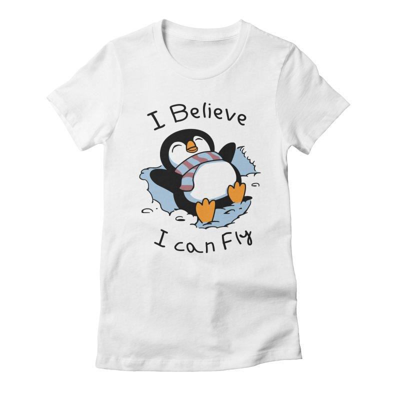 Snow Penguin Women's Fitted T-Shirt by vincenttrinidad's Artist Shop