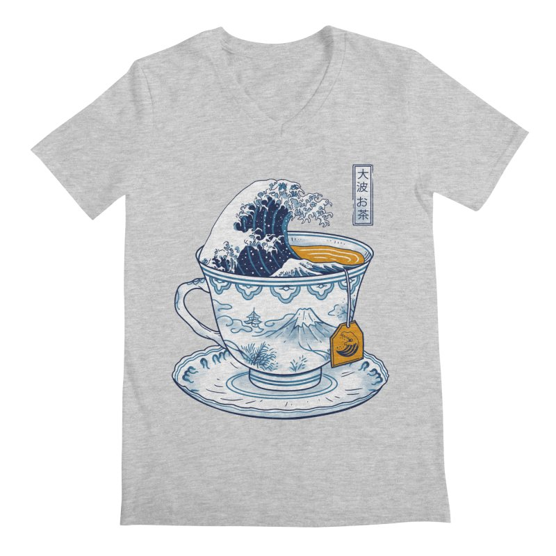 The Great Kanagawa Tee in Men's Regular V-Neck Heather Grey by Vincent Trinidad Art