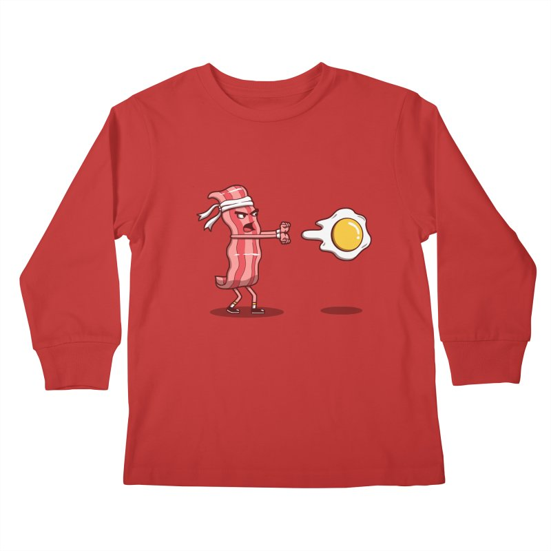 Bacon Fighter Kids Longsleeve T-Shirt by vincenttrinidad's Artist Shop
