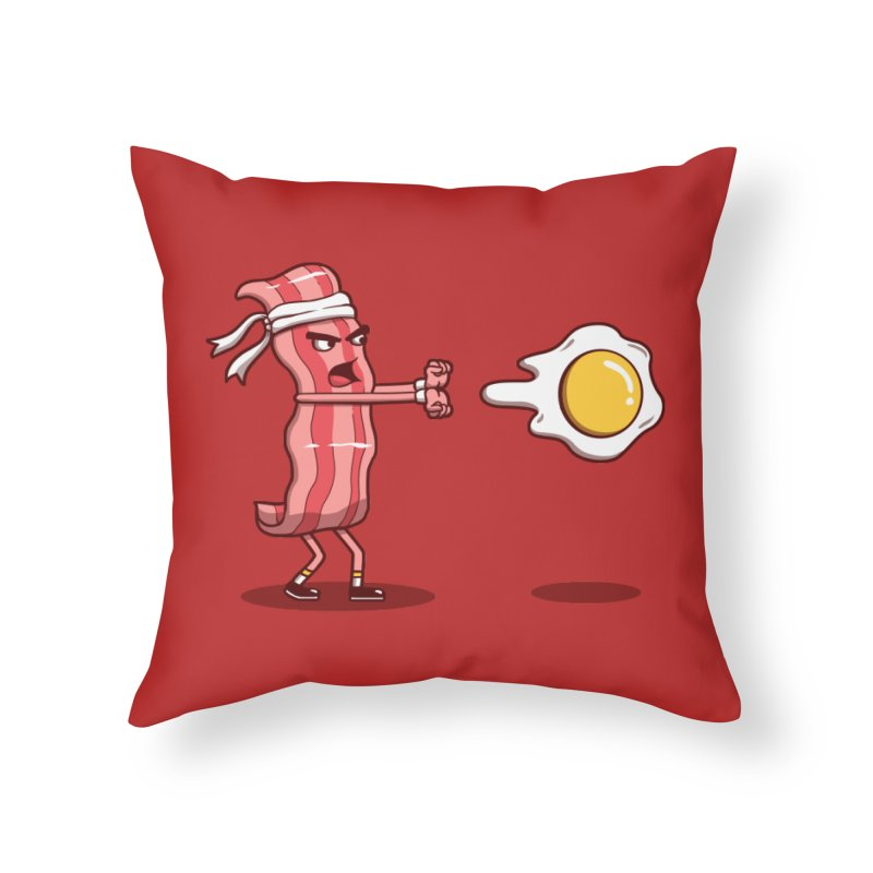 Bacon Fighter Home Throw Pillow by vincenttrinidad's Artist Shop