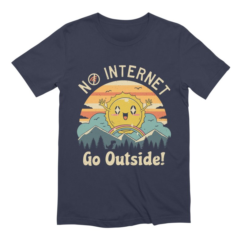 No Internet Vibes! in Men's Extra Soft T-Shirt Navy by Vincent Trinidad Art