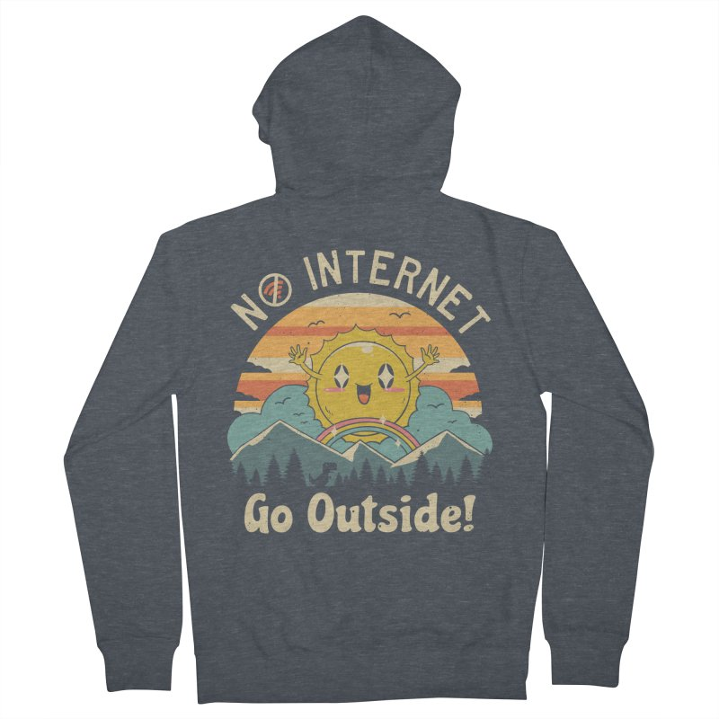 No Internet Vibes! Men's French Terry Zip-Up Hoody by Vincent Trinidad Art