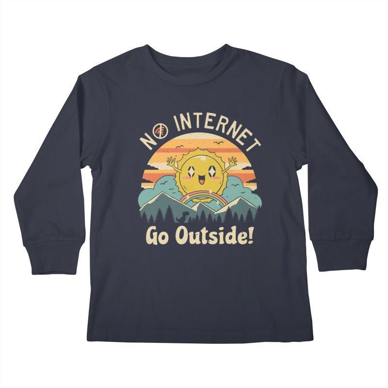 No Internet Vibes! Kids Longsleeve T-Shirt by Vincent Trinidad