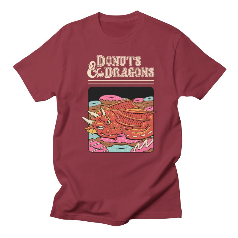 Donuts and Dragons in Men's Regular T-Shirt Scarlet Red by Vincent Trinidad Art