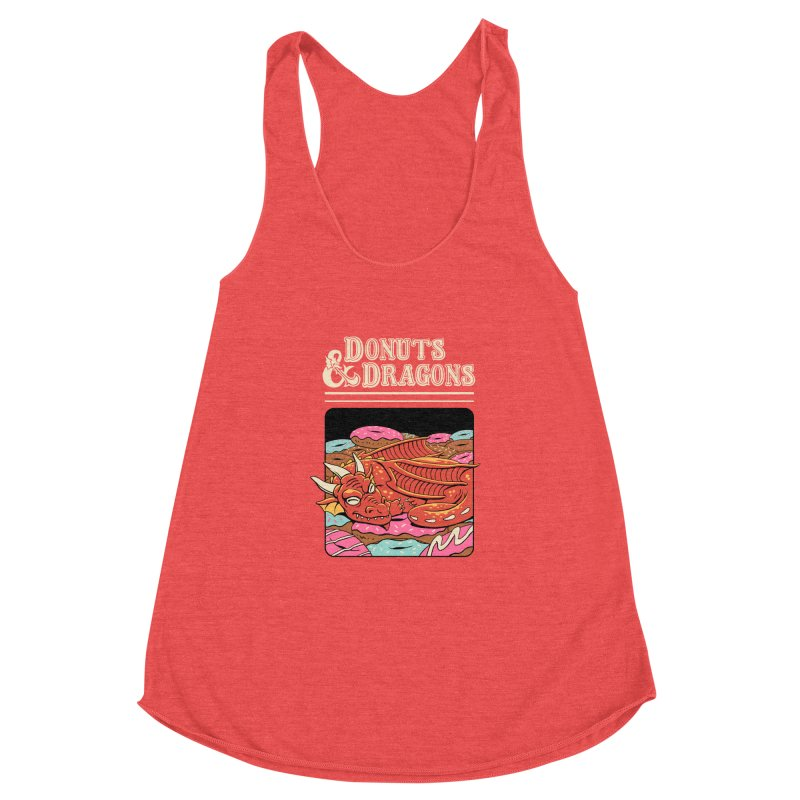 Donuts and Dragons Women's Racerback Triblend Tank by Vincent Trinidad