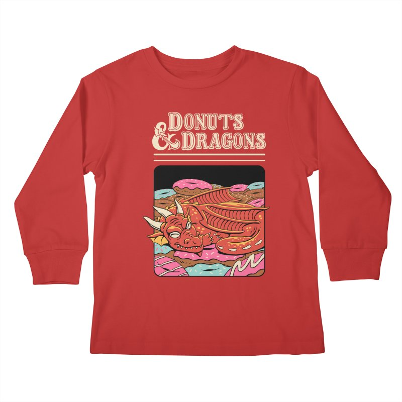 Donuts and Dragons Kids Longsleeve T-Shirt by Vincent Trinidad