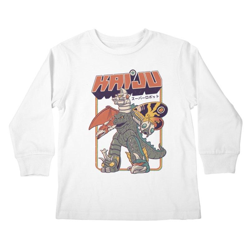 Super Kaiju Robot Kids Longsleeve T-Shirt by Vincent Trinidad