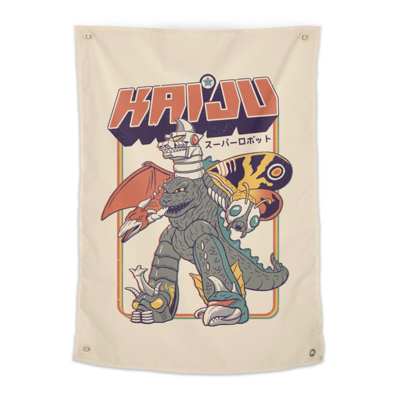 Super Kaiju Robot Home Tapestry by Vincent Trinidad
