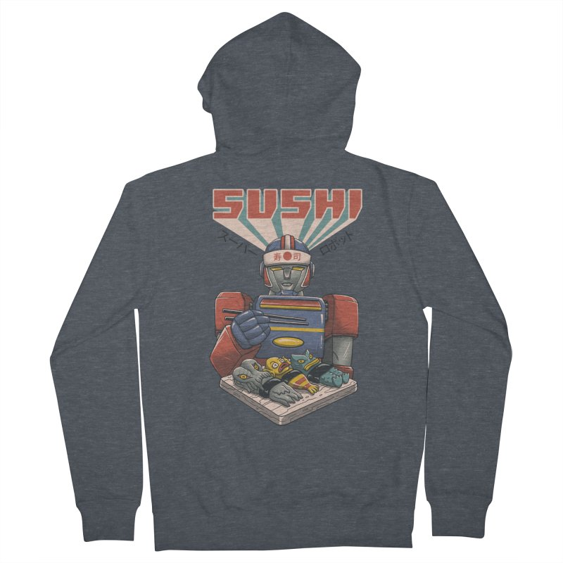 Super Sushi Robot Men's French Terry Zip-Up Hoody by Vincent Trinidad