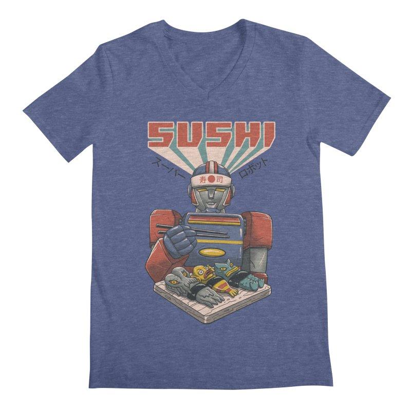 Super Sushi Robot Men's Regular V-Neck by Vincent Trinidad