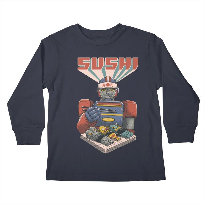 Super Sushi Robot Kids Longsleeve T-Shirt by Vincent Trinidad