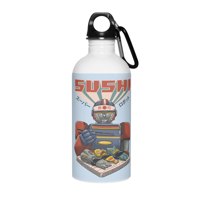 Super Sushi Robot Accessories Water Bottle by Vincent Trinidad