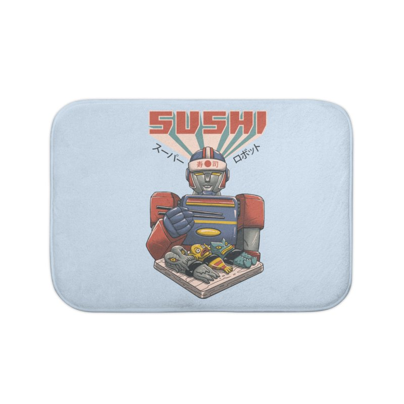 Super Sushi Robot Home Bath Mat by Vincent Trinidad