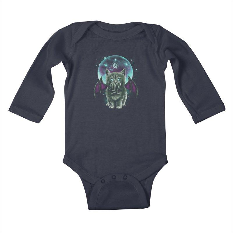 Cosmic Purrrcraft Kids Baby Longsleeve Bodysuit by vincenttrinidad's Artist Shop