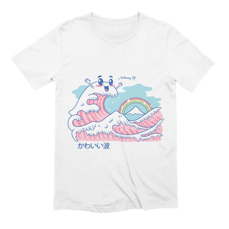The Great Kawaii Wave in Men's Extra Soft T-Shirt White by Vincent Trinidad Art