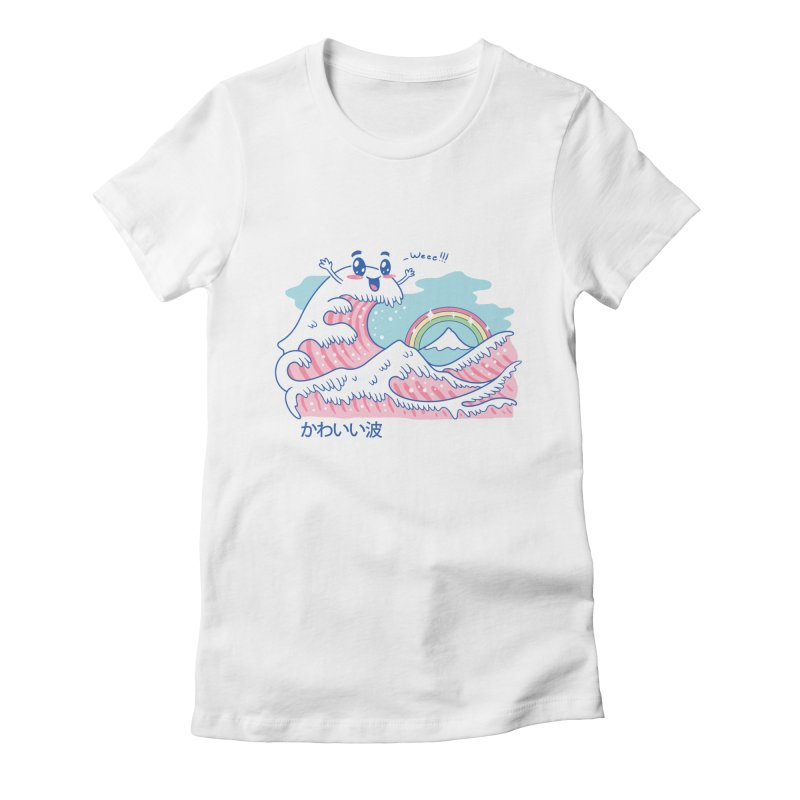 The Great Kawaii Wave Women's Fitted T-Shirt by Vincent Trinidad
