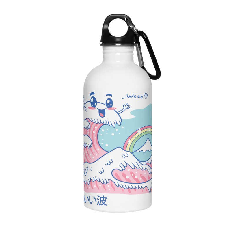 The Great Kawaii Wave Accessories Water Bottle by Vincent Trinidad