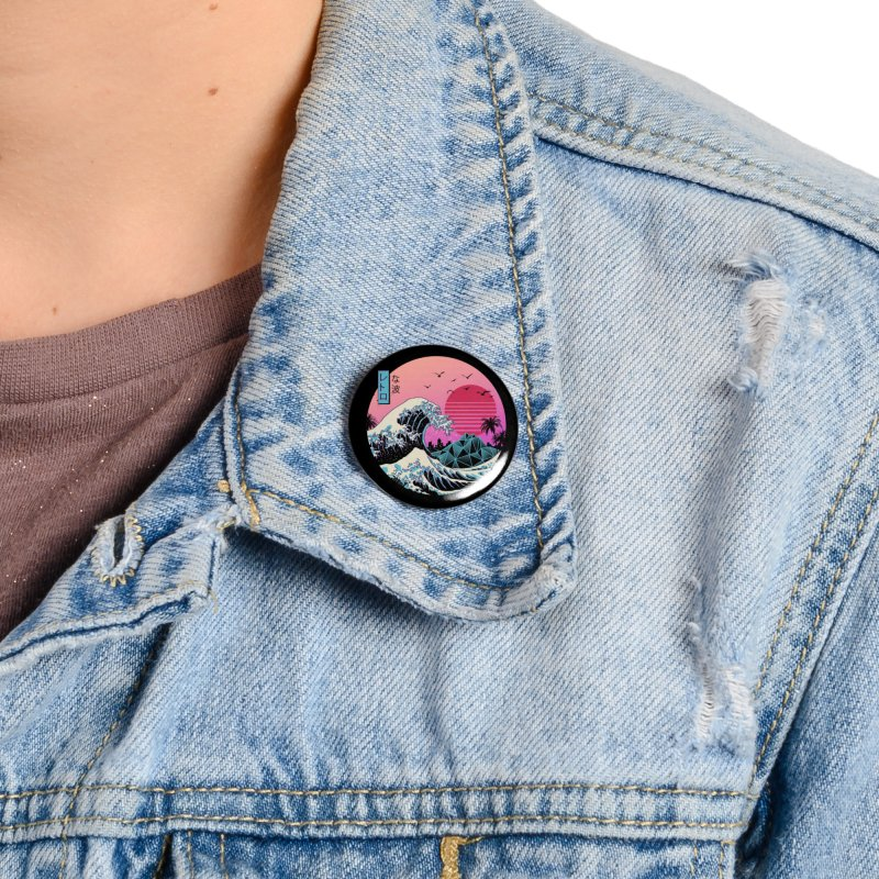 The Great Retro Wave Accessories Button by Vincent Trinidad Art