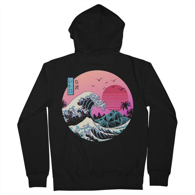 The Great Retro Wave in Men's French Terry Zip-Up Hoody Black by Vincent Trinidad Art