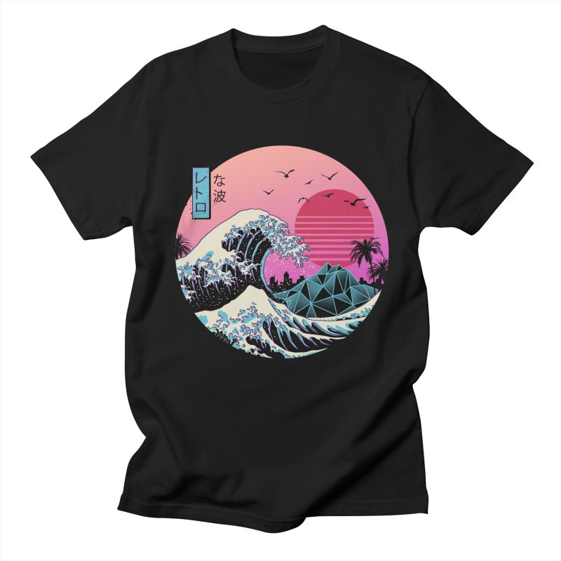 The Great Retro Wave in Men's Regular T-Shirt Black by Vincent Trinidad Art
