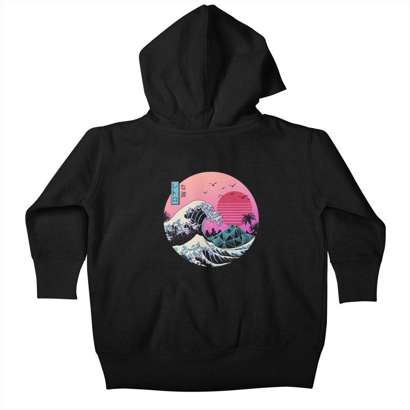 The Great Retro Wave Kids Baby Zip-Up Hoody by Vincent Trinidad Art