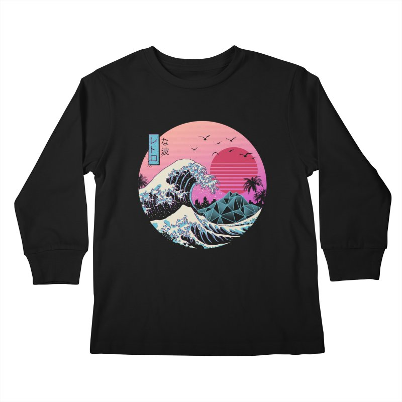 The Great Retro Wave Kids Longsleeve T-Shirt by Vincent Trinidad Art