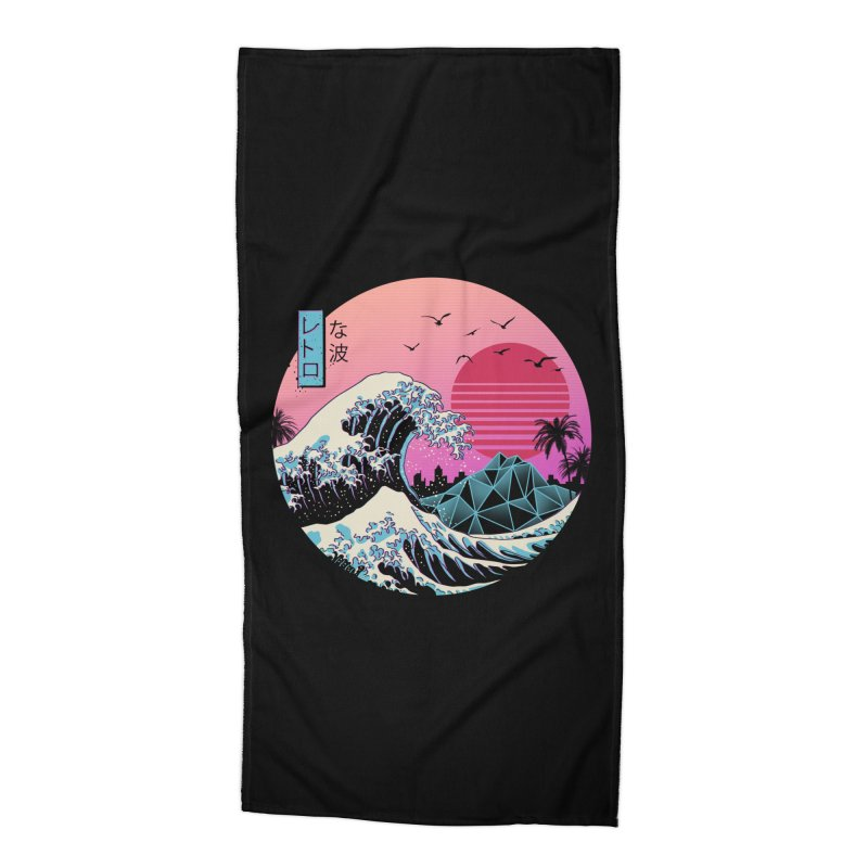 The Great Retro Wave Accessories Beach Towel by Vincent Trinidad Art