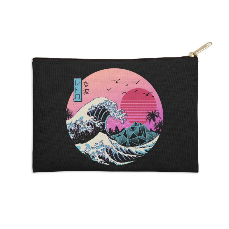 The Great Retro Wave Accessories Zip Pouch by Vincent Trinidad Art