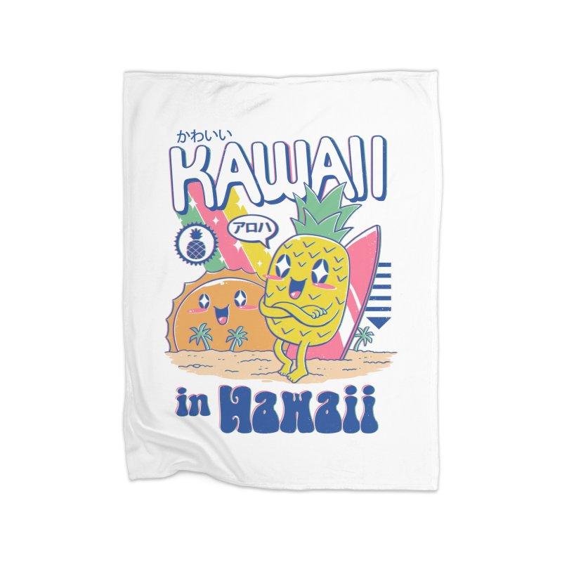 Kawaii in Hawaii Home Fleece Blanket Blanket by Vincent Trinidad