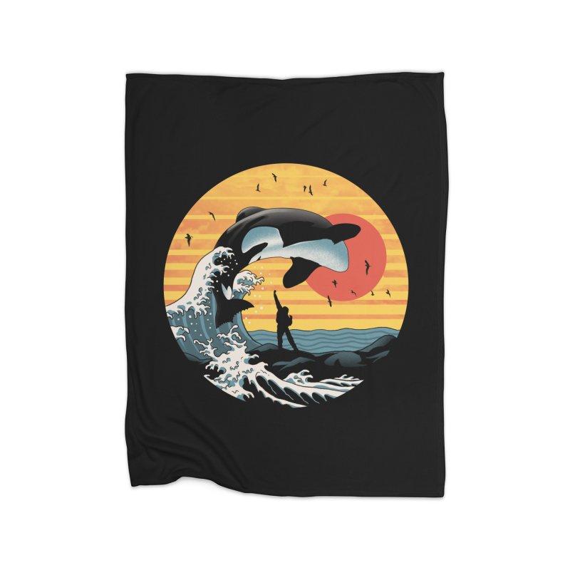 The Great Killer Whale Home Fleece Blanket Blanket by Vincent Trinidad