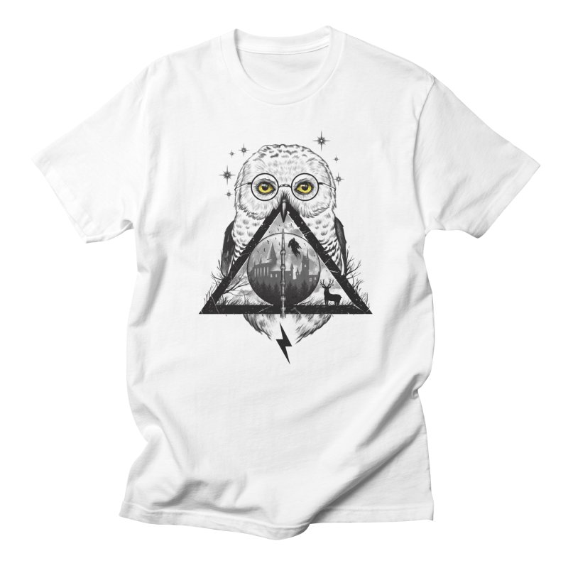 Owls and Wizardry in Women's Regular Unisex T-Shirt White by Vincent Trinidad Art