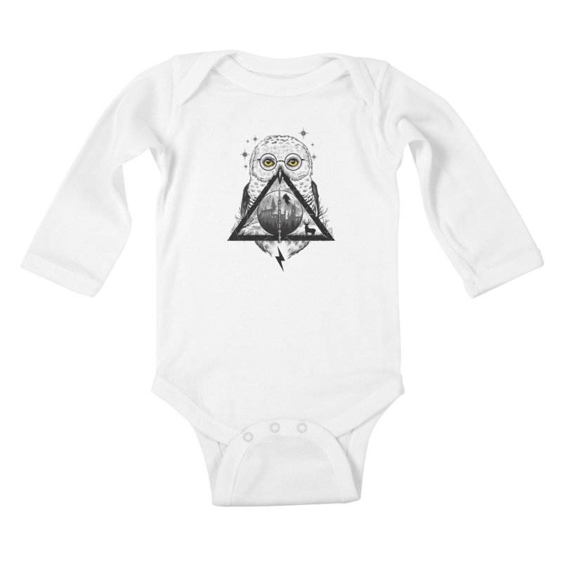 Owls and Wizardry Kids Baby Longsleeve Bodysuit by Vincent Trinidad