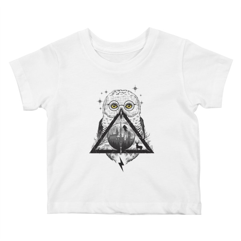 Owls and Wizardry Kids Baby T-Shirt by Vincent Trinidad