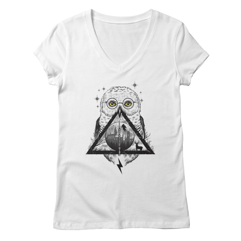 Owls and Wizardry Women's Regular V-Neck by Vincent Trinidad