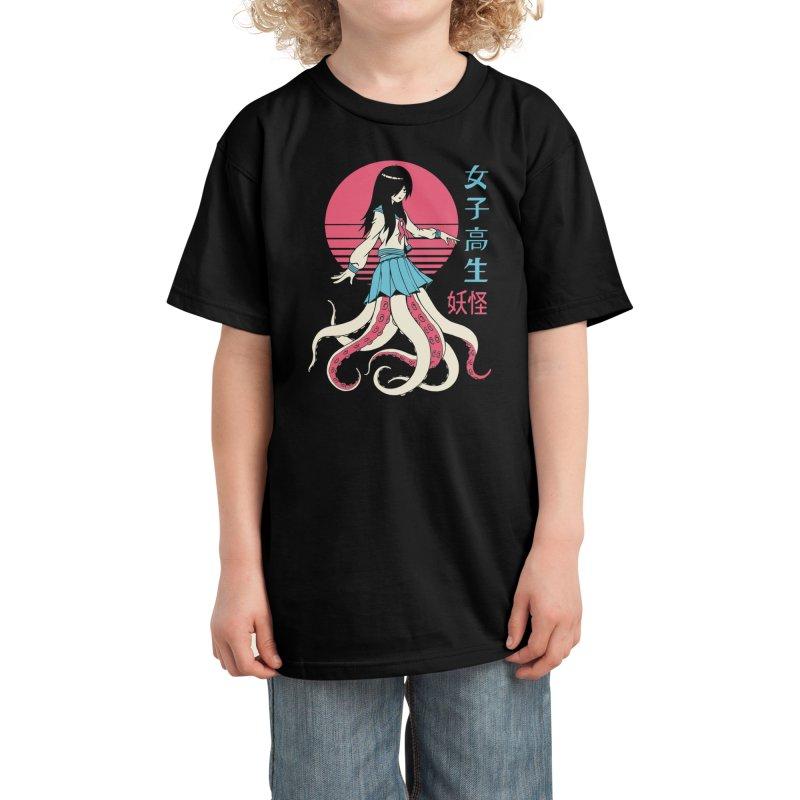 Yokai School Girl Kids T-Shirt by Vincent Trinidad Art