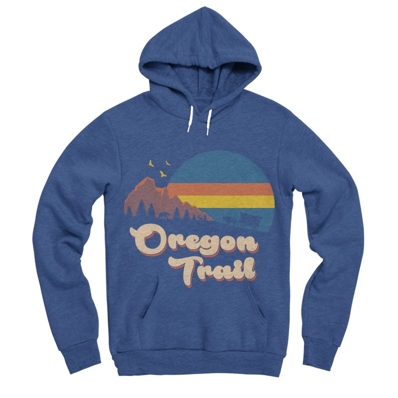 Retro Oregon Trail Men's Sponge Fleece Pullover Hoody by Vincent Trinidad