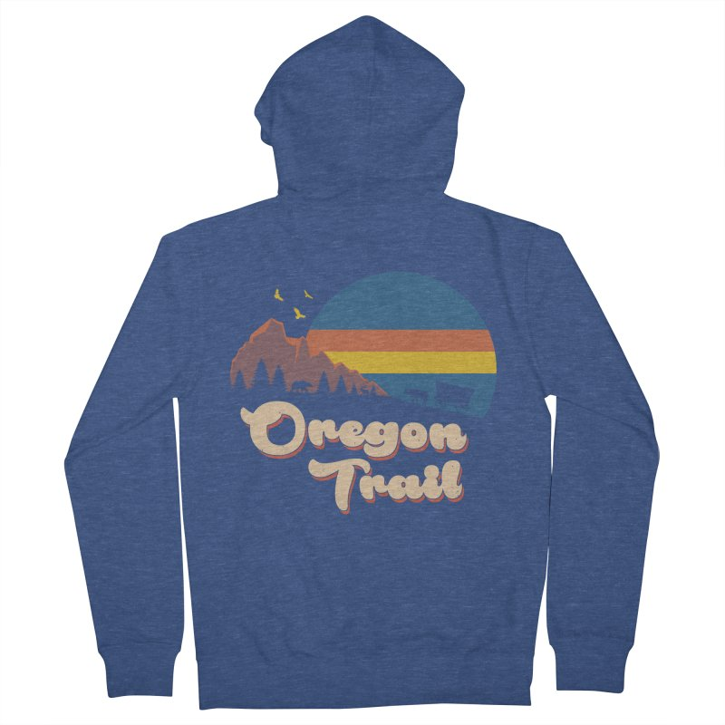 Retro Oregon Trail Men's French Terry Zip-Up Hoody by Vincent Trinidad Art