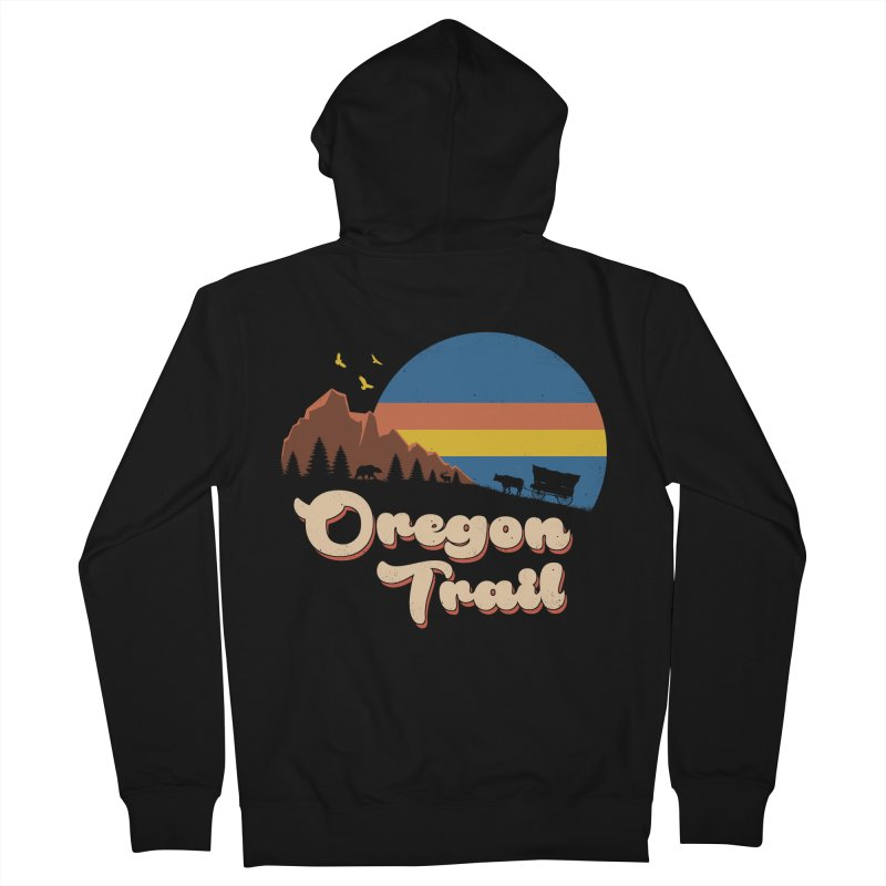 Retro Oregon Trail Men's French Terry Zip-Up Hoody by Vincent Trinidad