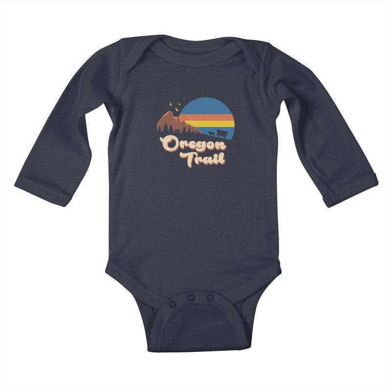 Retro Oregon Trail Kids Baby Longsleeve Bodysuit by Vincent Trinidad