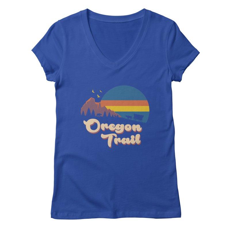 Retro Oregon Trail Women's Regular V-Neck by Vincent Trinidad