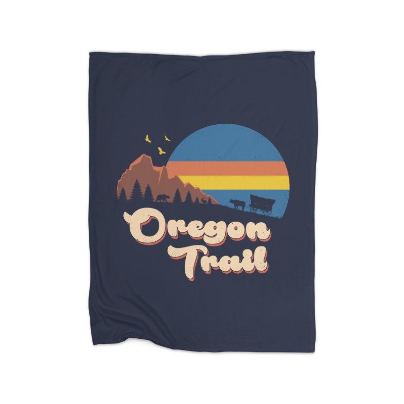 Retro Oregon Trail Home Fleece Blanket Blanket by Vincent Trinidad