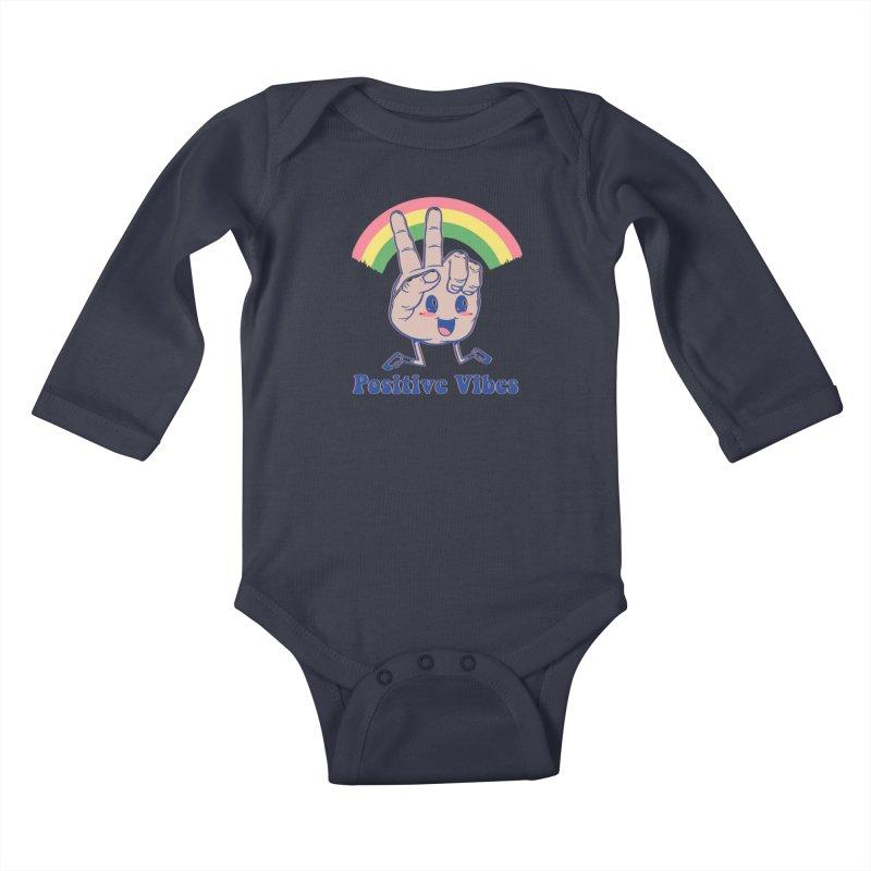 Positive Vibes Kids Baby Longsleeve Bodysuit by Vincent Trinidad