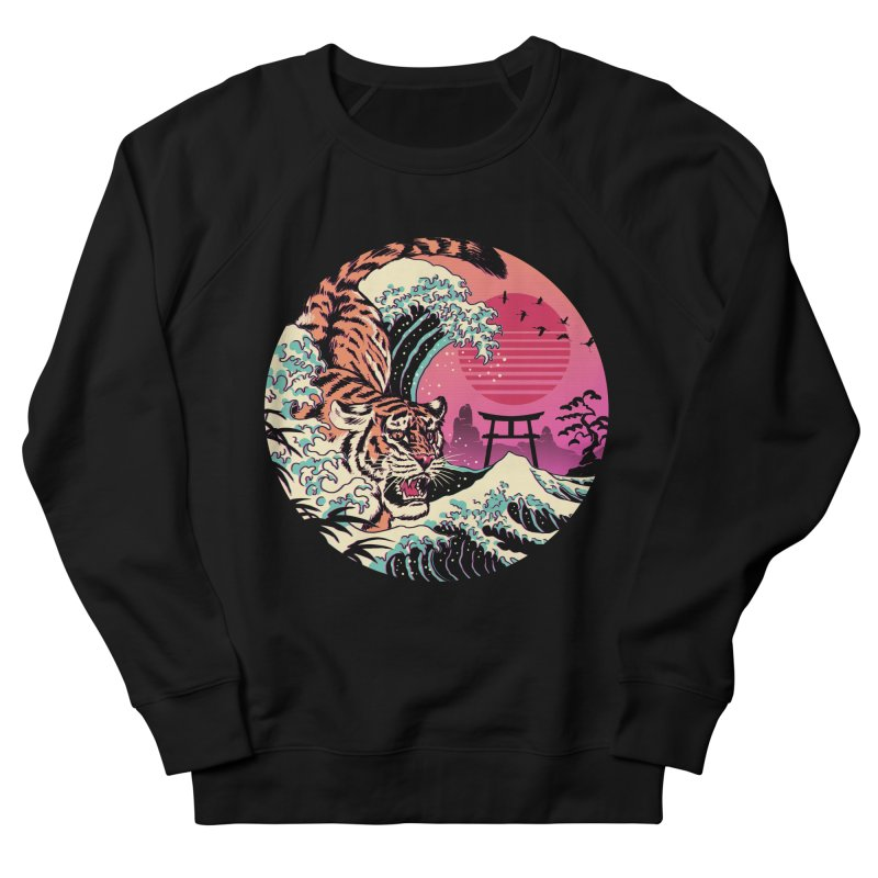 Rad Tiger Wave Women's French Terry Sweatshirt by Vincent Trinidad Art