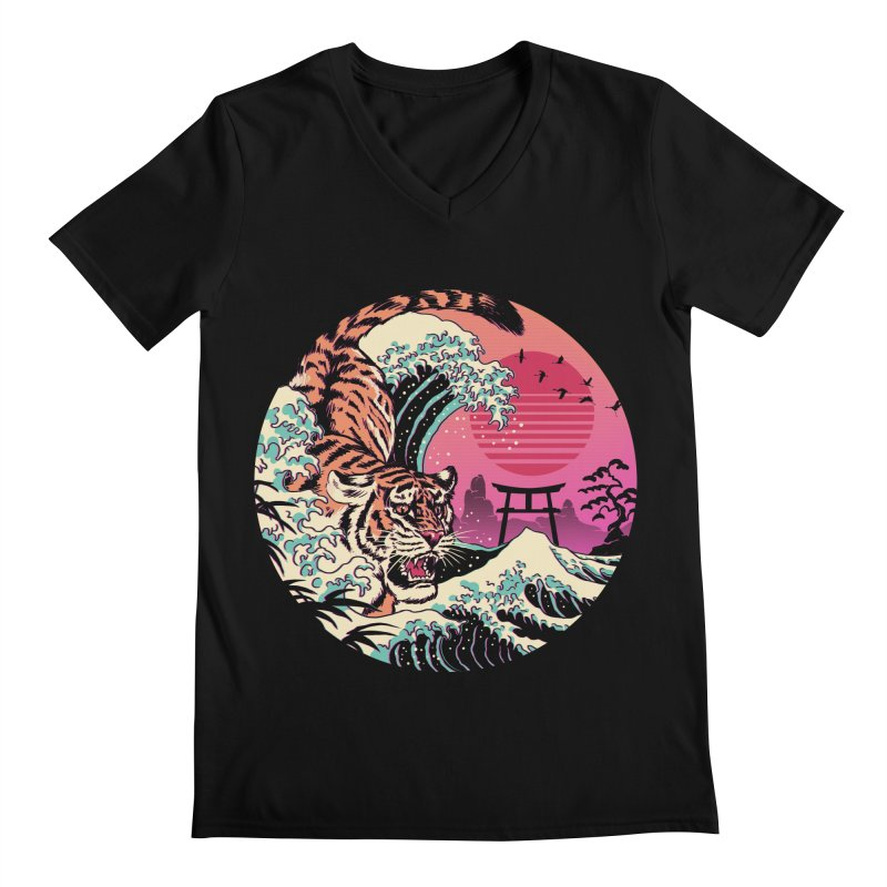 Rad Tiger Wave Men's Regular V-Neck by Vincent Trinidad Art