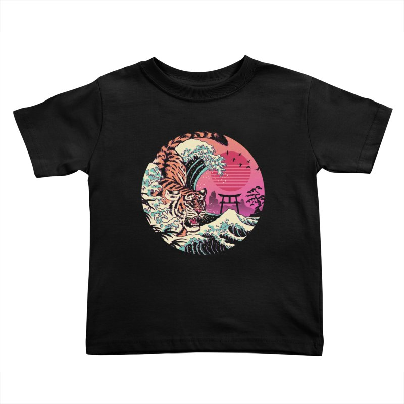 Rad Tiger Wave Kids Toddler T-Shirt by Vincent Trinidad Art