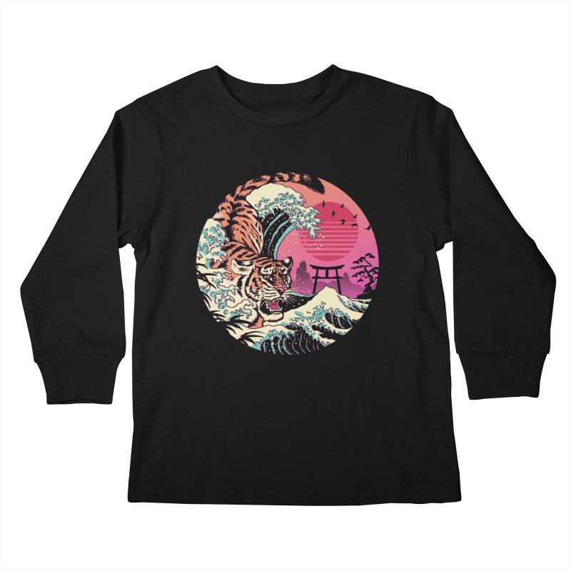 Rad Tiger Wave Kids Longsleeve T-Shirt by Vincent Trinidad Art